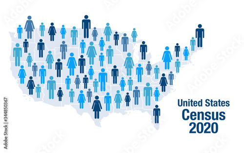 Fényképezés Population map of the United States for the 2020 census