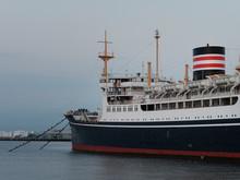 Hikawa Maru, A Japanese Ocean Liner Berthed As A Museum Ship At Yamashita Park, Yokohama, Japan At Dusk.
