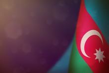 Azerbaijan Flag For Honour Of Veterans Day Or Memorial Day. Glory To The Azerbaijan Heroes Of War Concept On Blue Dark Velvet Background.