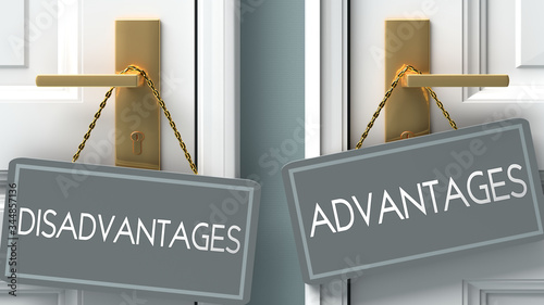advantages or disadvantages as a choice in life - pictured as words disadvantage Canvas Print