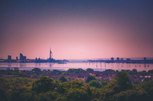Portsmouth Skyline Showing Spinnaker Tower During A Sun Set From Ports Down Hill.