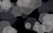 Gray translucent hexagons on dark background. Green tones. 3D illustration