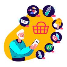 Online Supermarket.Covid,Coronavirus Epidemic Quarantine Isolation.Old Pensioner Shop,Smartphone.Buy,Home,Receive Parcel.Medical Face Mask,Antiseptic,Disinfector,Food.COVID 19.Flat Vector Illustration