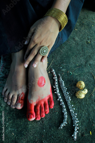 A beautiful asian woman with alta (Red color) and anklet on her legs Canvas Print