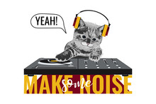 Vector Unisex T Shirt Print With Funny Cat In Headphones, DJ Mixer, Slogan Yeah, Make Some Noise. 3d Realistic Shirt Template On White Background. Music Poster With Kitty. Vector Illustration