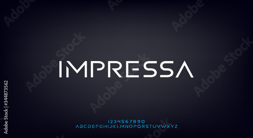 Impressa, an Abstract technology science alphabet font. modern minimalist typography vector illustration design