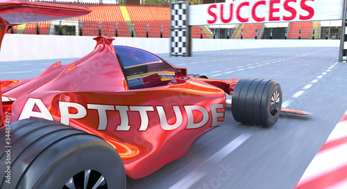 Aptitude and success - pictured as word Aptitude and a f1 car, to symbolize that Canvas Print