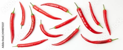 Fotografía Flat lay with chilli peppers isolated on white background
