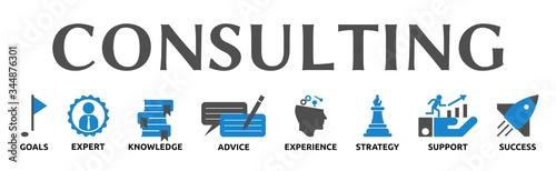 Photo Banner zum Thema: Consulting mit Symbolen