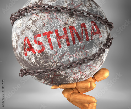 Asthma and hardship in life - pictured by word Asthma as a heavy weight on shoul Slika na platnu