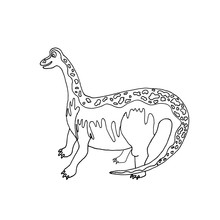Dinosaur Coloring Pages. Linear Drawing Of A Dinosaur For Coloring. Hobbies And Entertainment For Children And Adults. Vector Image.