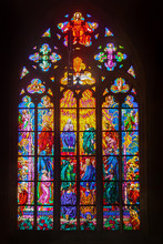 Colored Stained Glass Windows Of A Medieval Castle