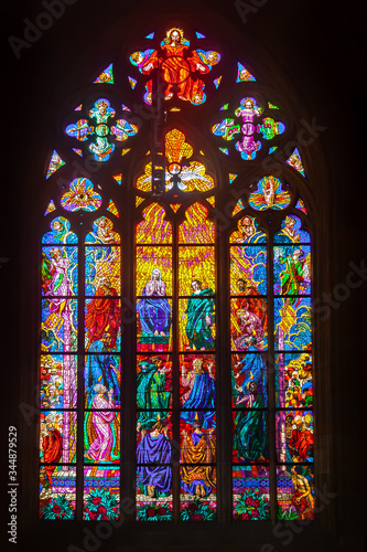 Fotografie, Obraz Colored stained glass windows of a medieval castle