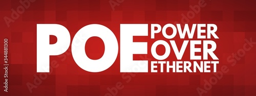 Fotomural PoE - Power Over Ethernet acronym, technology concept background