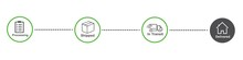 Order Delivery Status, Post Parcel Package Tracking Vector Icons. Order Parcel Processing Bar
