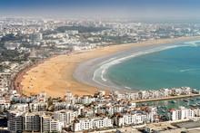 White Modern Architecture Surrounding Amazingly Wide Sandy Beach In Agadir, Morocco