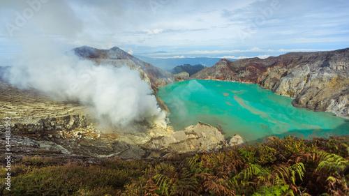 Active Ijen Volcano in West Java Canvas Print