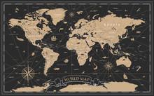 World Map Vintage Black Golden...