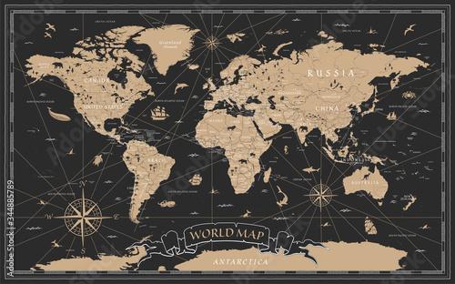 Fototapeta World Map Vintage Black Golden Detailed - Vector