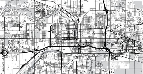 Urban vector city map of Lansing, USA. Michigan state capital Canvas Print