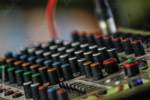 Photo Soft Focus and Blur,Audio control panels and power amplifier for display management are installed and prepared as audio and power amplifier panels must be checked before every actual performance