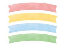 見出しなどに使える水彩風リボン(アーチ型)