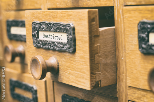 Old wooden archive files catalog drawer, Restricted files Canvas Print