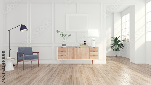 Fotografia, Obraz Modern minimal room with armchair and floor lamp, white sideboard and picture frame , white pattern wall