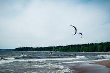 Kitesurfing On The Beach Windy Weather