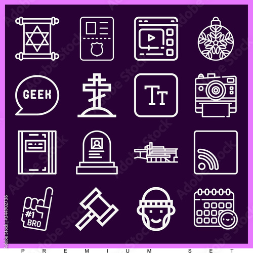 Set of 16 lloyd lineal icons Canvas Print