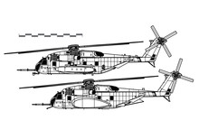 Sikorsky CH-53E Super Stallion. Vector Drawing Of Heavy-lift Cargo Helicopter. Side View. Image For Illustration And Infographics.
