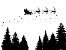 Santa Claus On The Sky In Wint...