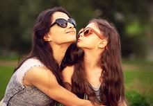 Happy Fashion Daughter Kissing...