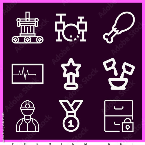 Set of 9 aggregate lineal icons Wallpaper Mural