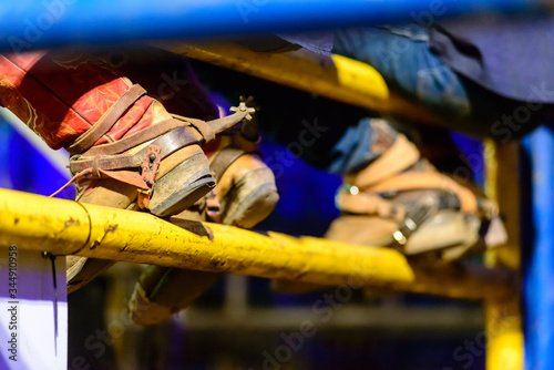 Detail of cowboy boots during rodeo in Brazil. Canvas-taulu