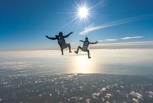 Skydiving Jumping At The Sea