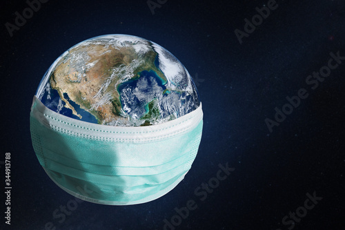 Fotografie, Obraz Planet Earth with face mask protect
