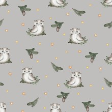 Seamless Pattern With Owls, Gr...