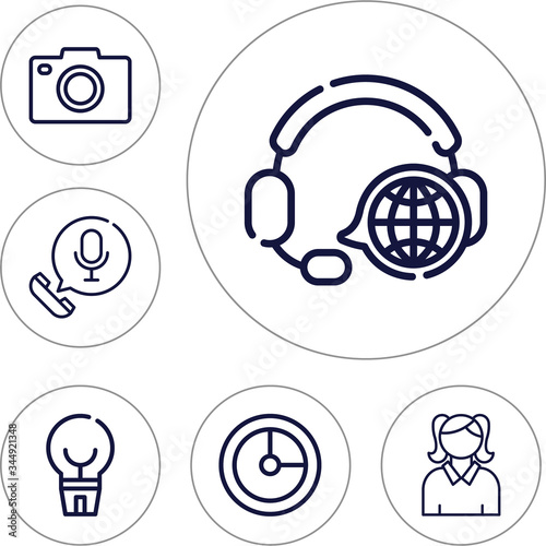 Photo 6 lineal editable icons set for anticipate