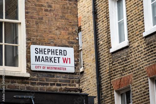 LONDON- Shepherd Market street sign in Mayfair, a characterful 18th Century mark Wallpaper Mural