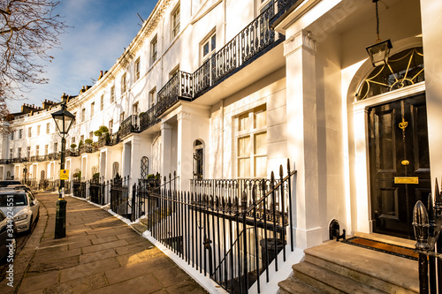 LONDON- An attractive street of luxury London townhouses in South Kensington