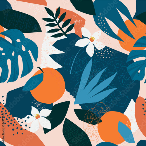 Fototapeta Collage contemporary floral seamless pattern