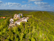 Aerial View Of Castle Buchlov And Chapelle Of St. Barbora In The Moravia Landscape