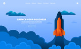 Illustration vector graphic of orange rocket towards the sky. Business concept. Perfect for web landing page, banner, poster, etc.