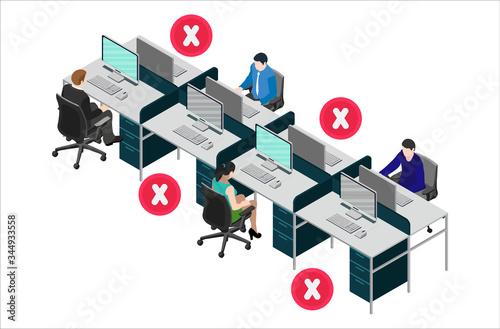 Fotomural Social distancing at office workstation