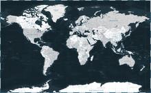 World Map - Dark Black Graysca...