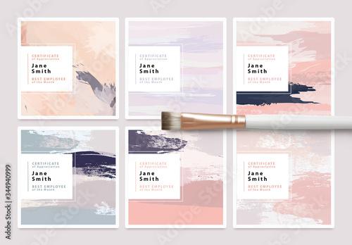 Fototapeta Set of Certificate Card Layouts with Textured Brush Strokes obraz