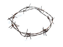 Old Rusty Barbed Wire Circle I...
