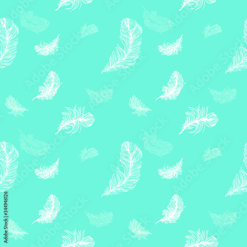Photo Seamless pattern of white and aquamarine feathers on aqua Menthe backgound