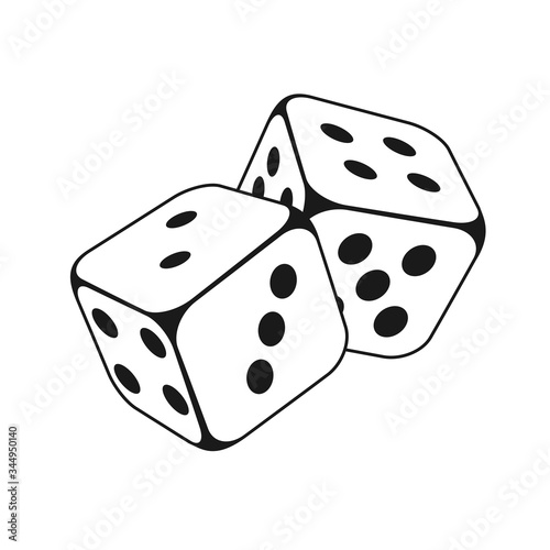 Leinwand Poster dice vector icon, gambling icon for casino apps and websites